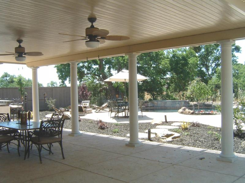 Roseville Patio Cover with Fans and Columns